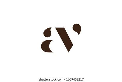 av or va and a or v Lowercase Letter Initial Logo Design Template Vector Illustration