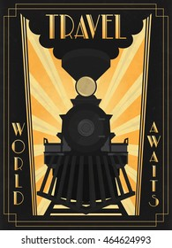 ALSO AVAILABLE HERE: https://www.etsy.com/ru/listing/495224890/art-deco-poster-of-transcontinental  Art Deco Travel Poster. Vector steam train. Transcontinental passenger train. C.P.R. engine #374.