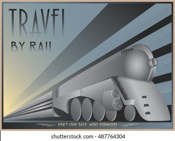 ALSO AVAILABLE HERE: https://www.etsy.com/ru/listing/508710033/art-deco-poster-of-a-dreyfuss-train  Art Deco Dreyfuss Train Poster. Art Deco travel poster. Vector illustration of old steam train.