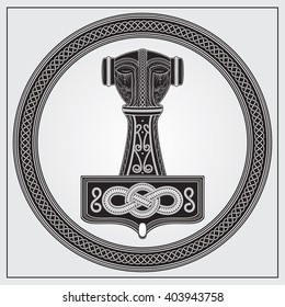 ALSO AVAILABLE HERE: https://www.etsy.com/ru/listing/508716141/mjolnir-thors-hammer-digital  Design element. Logo symbol in knotted frame. Mjolnir. Thor's Hammer. Viking amulet.