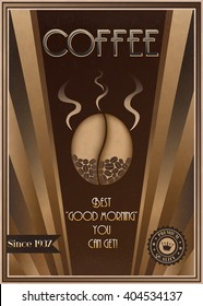 ALSO AVAILABLE HERE: https://www.etsy.com/ru/listing/494842898/coffee-art-deco-poster  Retro Coffee poster in Art Deco style. Vintage vector coffee poster template. Coffee advertisement sign.