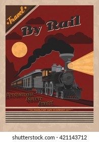ALSO AVAILABLE HERE: https://www.etsy.com/ru/listing/508707493/retro-poster-of-transcontinental  Retro travel poster. Vector train illustration. Transcontinental passenger train. C.P.R. engine #374.