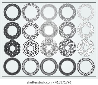 ALSO AVAILABLE HERE: https://www.etsy.com/listing/508370448/ Set of celtic knotwork round frames. Twenty design elements for logos, web, illustrations or game interfaces.