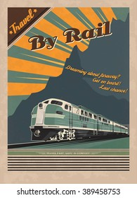 ALSO AVAILABLE HERE: https://www.etsy.com/ru/listing/495221952/train-retro-poster  Vintage travel poster for printing. Vector illustration of diesel train in retro style.