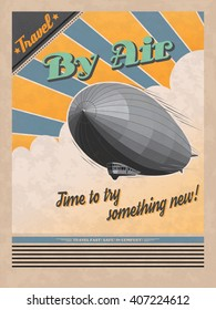 ALSO AVAILABLE HERE: https://www.etsy.com/ru/listing/508706571/zeppeling-retro-poster  Vintage travel poster. Vector retro illustration of airship with clouds and sun rays as a background.