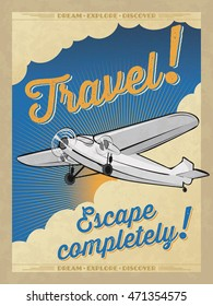 ALSO AVAILABLE HERE: https://www.etsy.com/ru/listing/495225416/airplane-retro-poster  Vintage travel poster. Retro airplane poster. Retro Piper Poster. Vector Travel Poster.