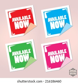 Available Now Colorful Label, Sticker And Tags Vector Design.