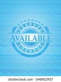 Available sky blue water wave emblem background. Vector Illustration. Detailed.