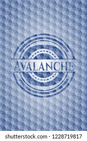 Avalanche blue emblem or badge with abstract geometric polygonal pattern background.