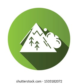 Avalanche green flat design long shadow glyph icon. Sudden landslip. Unexpected snowslide, landslide. Mass of snow and ice falling down mountain side. Natural disaster. Vector silhouette illustration