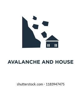 Avalanche and House icon. Black filled vector illustration. Avalanche and House symbol on white background. Can be used in web and mobile.