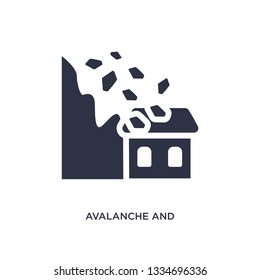 avalanche and house icon. Simple element illustration from meteorology concept. avalanche and house editable symbol design on white background. Can be use for web and mobile.