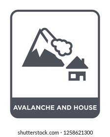 avalanche and house icon vector on white background, avalanche and house trendy filled icons from Meteorology collection, avalanche and house simple element illustration