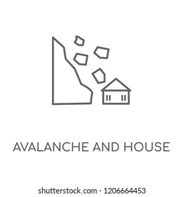 Avalanche and House linear icon. Avalanche and House concept stroke symbol design. Thin graphic elements vector illustration, outline pattern on a white background, eps 10.