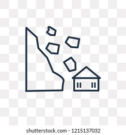 Avalanche and House vector outline icon isolated on transparent background, high quality linear Avalanche and House transparency concept can be used web and mobile