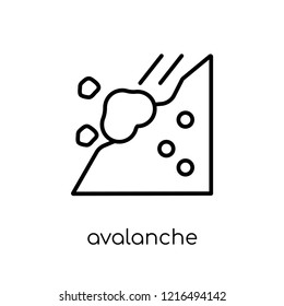 avalanche icon. Trendy modern flat linear vector avalanche icon on white background from thin line Winter collection, outline vector illustration