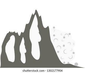 Avalanche at mountainside on white