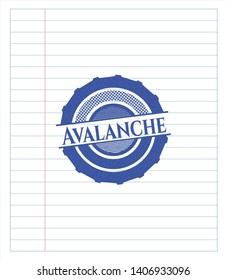 Avalanche with pen strokes. Blue ink. Vector Illustration. Detailed.