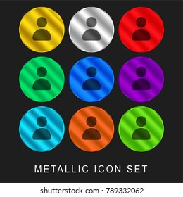 Avatar 9 color metallic chromium icon or logo set including gold and silver