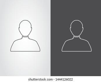 Avatar Account Data Profile Torso Figure Icon Symbol Outline Black White