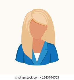Avatar of a blond female in business suit. Office woman avatar. Vector illustration EPS 10.