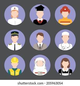 Avatar business users flat icons set of graduate student engineer astronaut isolated vector illustration