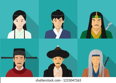 Avatar of Chinese people in flat style, vector art