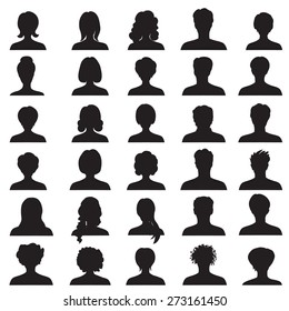 Avatar collection. People profile silhouettes