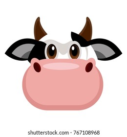 Avatar of a cow on a white background, Vector illustration