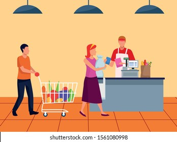 avatar customers at supermarket cash register, colorful design , vector illustration