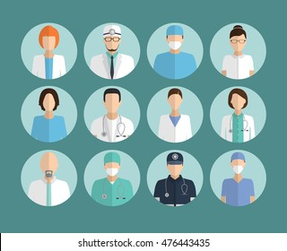 Avatar Doctor, hospital staff flat vector set