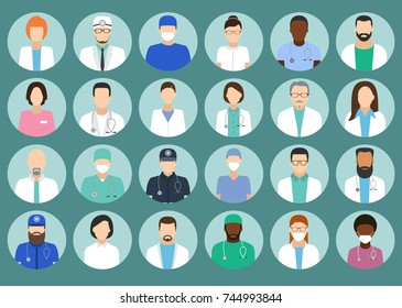 Avatar Doctor, hospital staff flat vector set. Medicine set with doctors and nurses avatar.