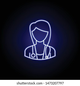 avatar doctor outline icon in blue neon style. Signs and symbols can be used for web logo mobile app UI UX