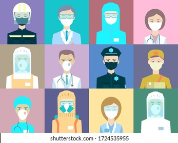 Avatar doctors, policemen, couriers, salesman's, pharmacists, rescuers. Medical staff - set of icons with doctors, surgeons, nurses and other medical practitioners and other workers fighting Covid-19