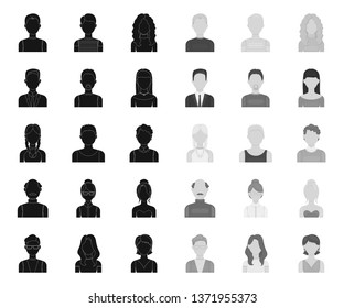 Avatar and face black.mono icons in set collection for design. A person's appearance vector symbol stock web illustration.