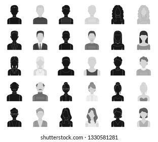 Avatar and face black,monochrome icons in set collection for design. A person's appearance vector symbol stock web illustration.