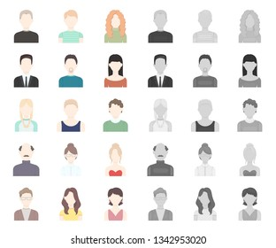 Avatar and face cartoon,mono icons in set collection for design. A person appearance vector symbol stock web illustration.