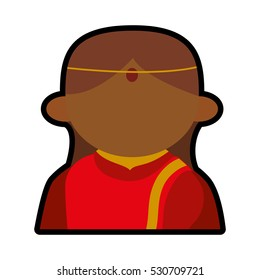 avatar face indian woman red traditional clothes vector illustration eps 10