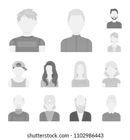 Avatar and face monochrome icons in set collection for design. A person appearance vector symbol stock web illustration.