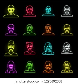 Avatar and face neon icons in set collection for design. A person's appearance vector symbol stock web illustration.