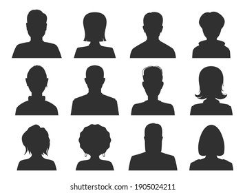 Avatar faceless black female, male icons set. Women, men, girls, guys, boys silhouette with different hairdo styles. Member heads and shoulders. Vector collection isolated on white for web, apps.