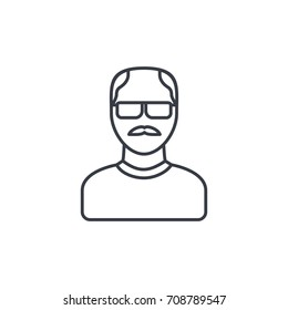 Avatar, father, adult man thin line icon. Linear vector illustration. Pictogram isolated on white background