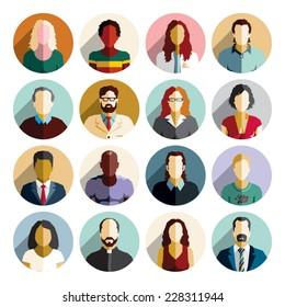 Avatar flat design icons. People icons.
