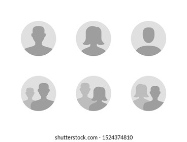 Avatar flat icon set. Default anonymous user portrait vector illustrations. Signs for man, woman faceless profile picture. Gray round website placeholder.