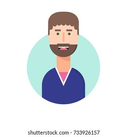 Avatar of a frightened man. Flat illustration