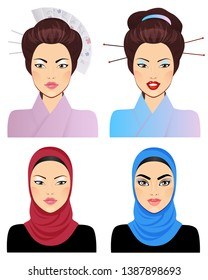 Avatar Icon set: asian woman portrait clipart vector illustrations: Japanese and a Muslim girls.