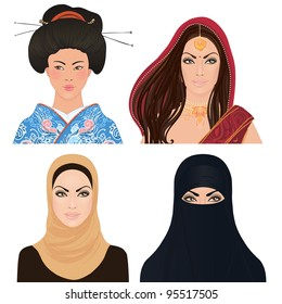 Avatar Icon set: asian woman portrait clipart vector illustrations: Japanese, Indian and a Muslim girls.