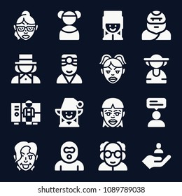 Avatar icon set - filled collection of 16 vector icons such as magician, woman, review, worker, user, lady, girl, troglodyte, professor, doctor, burglar