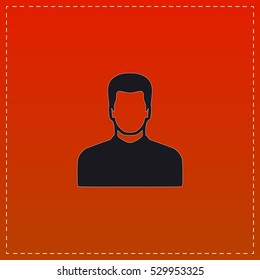 Avatar Icon Vector. Black flat button on red background
