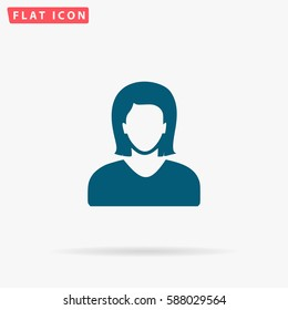 Avatar Icon Vector. Flat simple Blue pictogram on white background. Illustration symbol with shadow